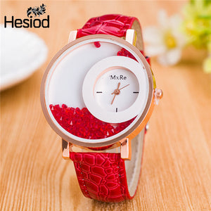 Leather Strap Women Wrist Watches Casual Crystal Solid Color