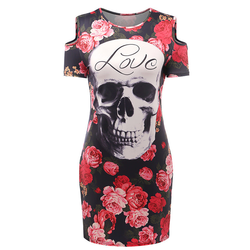 Print Skull Love Red Flower Floral  Mini T Shirt  Dress