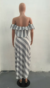 Two Pieces Strapless Striped Maxi Dresses