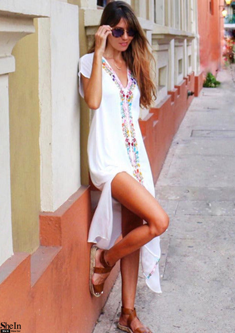 White Embroidery V Neck Short Sleeve Placement Print Split Side Maxi Dress