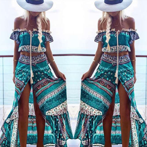 Floral Printed  Long Dress  Side Split Two Pieces