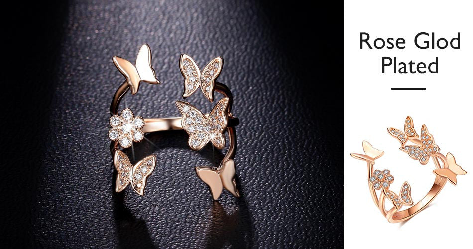 Lovely Ladies Butterfly Open Ring