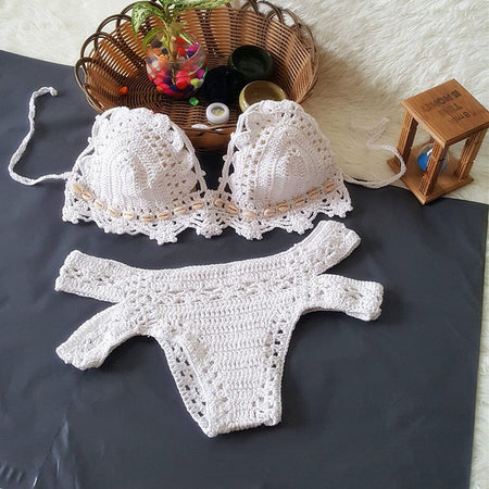 Knitted Crochet Bikini set  With Shell