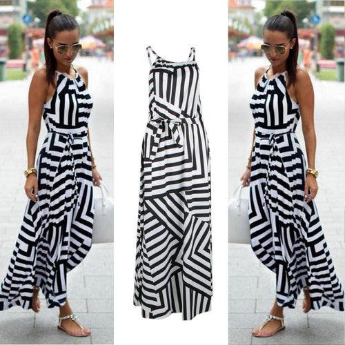 Sexy Casual Geometric Print Boho Long Maxi Beach Dress