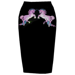 Summer Holographic Sequin Unicorn Pencil Skirt Black