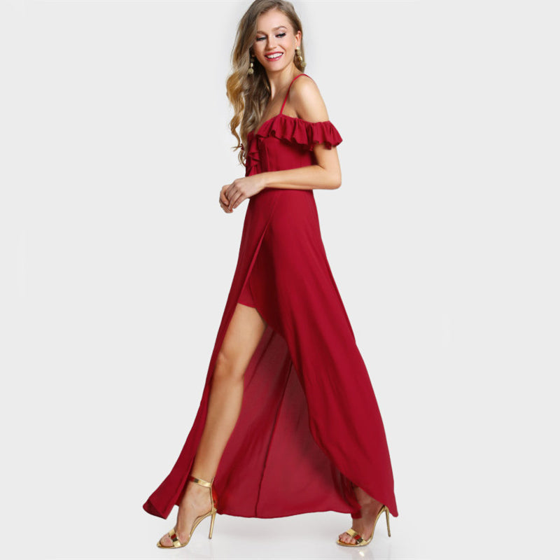 Sexy Red Ruffle Cold Shoulder  New Elegant Wrap Sexy Slip Dress