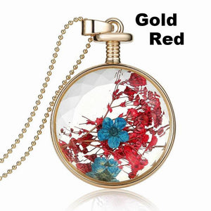 Dry Flower Transparent Crystal Wishing Bottle Pendant Necklace