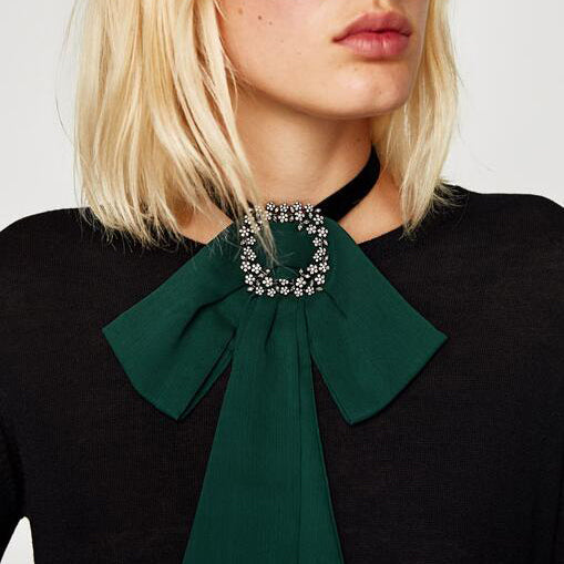 Black Velvet Choker Necklace Chiffon Bowknot