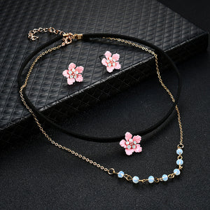 Women Charm Leather Crystal Rhinestone Earrings Necklace