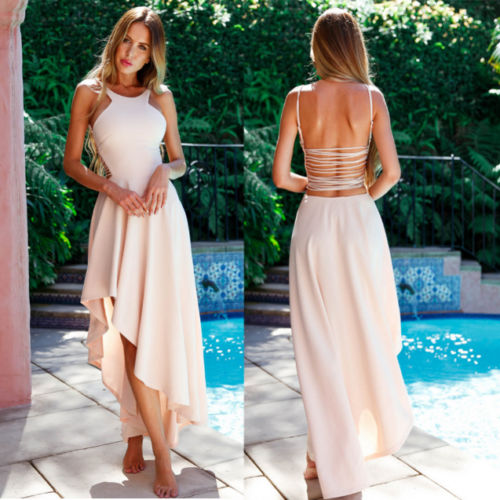 SLEEVELESS BACKLESS LONG MAXI DRESS EVENING PARTY
