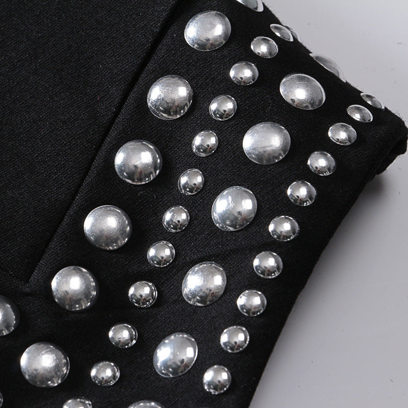 Temperament High Waist Rivet Asymmetric Vent Half-body Skirt