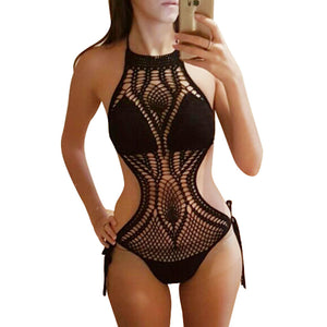 Crochet Swimsuit Solid Color Cut Out