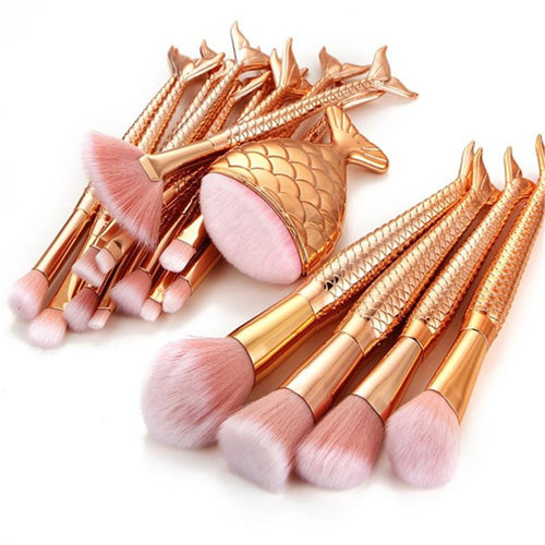 Golden Mermaid Makeup Brushes Set