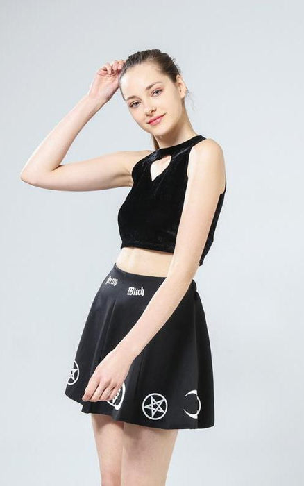 Punk Rock Goth Summer Skirt Witch Pentacle Moon