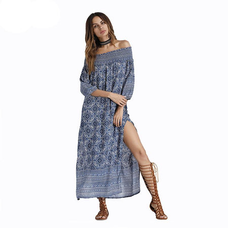 Blue Floral Print Off Shoulder Dress Boho 3/4 Sleeve Side Split Sundress