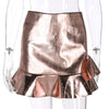 Articat Ruffles High Waist Skirt Jupe Bodycon Leather Skirt Short