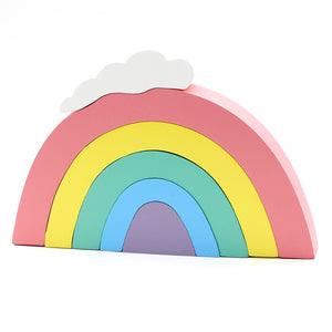 Ins Nordic Style Wooden Swan Rainbow Building Blocks Home Decor