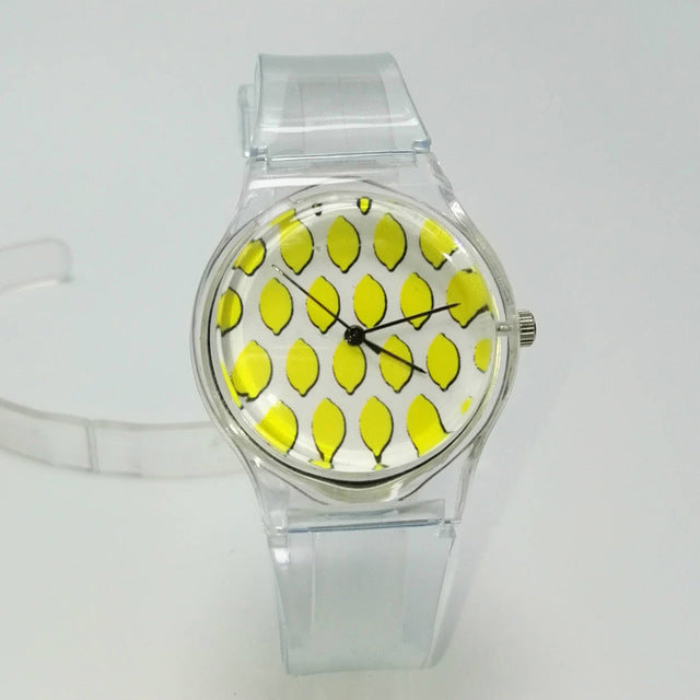 Transparent Clock Silicon Watch Women Novelty Crystal