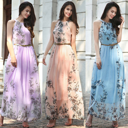Summer Women Dress Chiffon Floral Print Halter Tunic Sleeveless