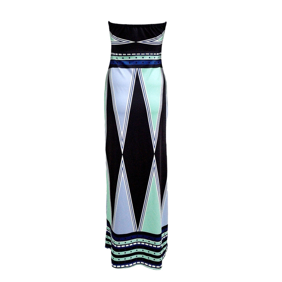 Strapless Maxi Dress Print Color Block