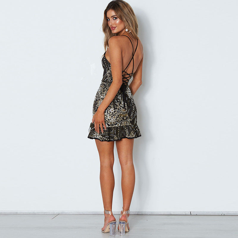 Sleeveless Bandage Bodycon Sequin Dress