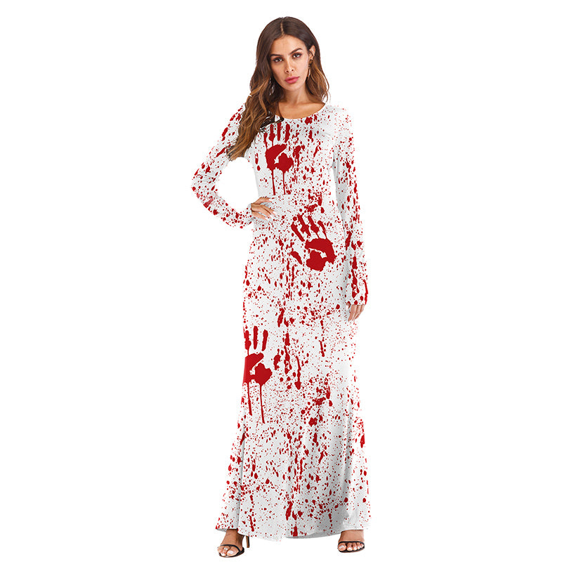 Halloween Costume Funny Skull Blood Drops Dress