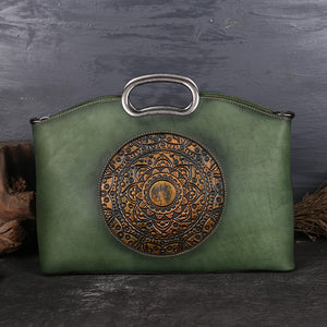High Quality Real Cowhide  Embossed Vintage Handbag