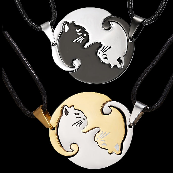 Two Cat Pendant Couples Necklace
