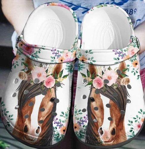 Horses Flower Clog Shoes