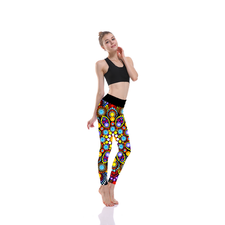 Black Background Mandala Print Legging