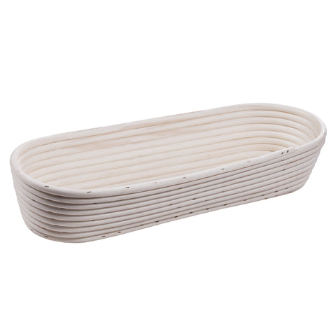Premium Long Oval Banneton Basket with Liner - Perfect Oblong Brotform Proofing Basket for Making Beautiful Bread