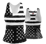 USA Patriotic Black and White Racerback