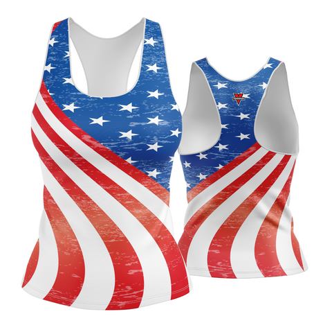 USA Patriotic Stars and Stripes Racerback (faded look)