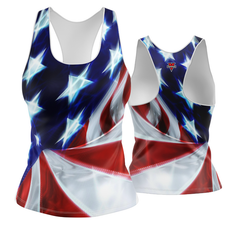 USA Patriotic Chrome Look Racerback