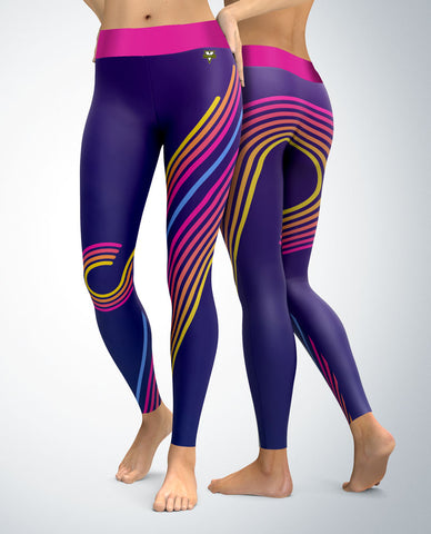 Retro 80's Purple Stripes Leggings