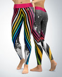 Retro Stripes with Paint Splatter Leggings