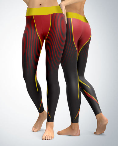 Athletic Swoosh Leggings (yellow/red tones)