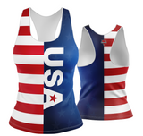 USA Patriotic Stripes and Solid Racerback