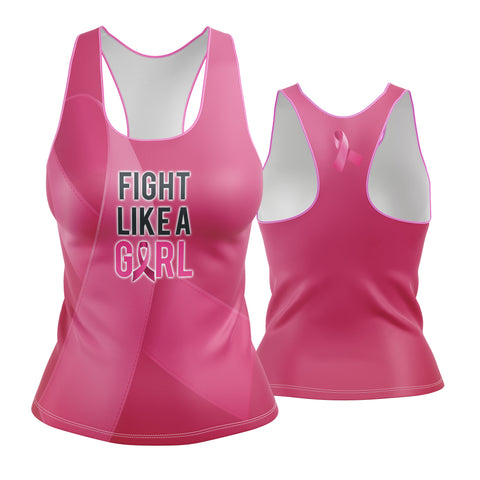 Fight Like A Girl Pink Ribbon Racerback
