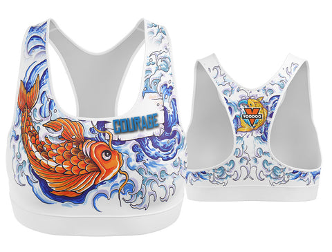 Koi Fish Courage Tattoo Inspired Sports Bra
