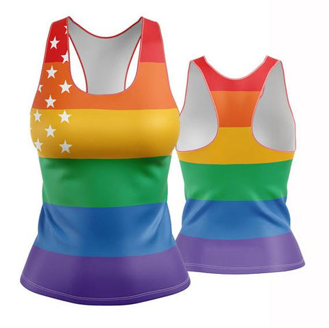 Pride Racerback (rainbow slices and stars)