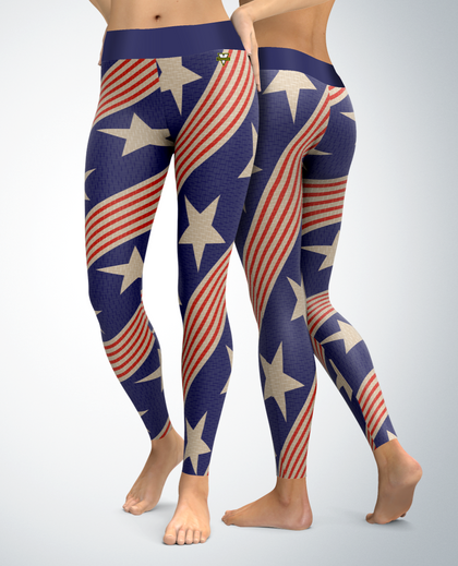 USA Patriotic Retro Stars and Stripes Leggings