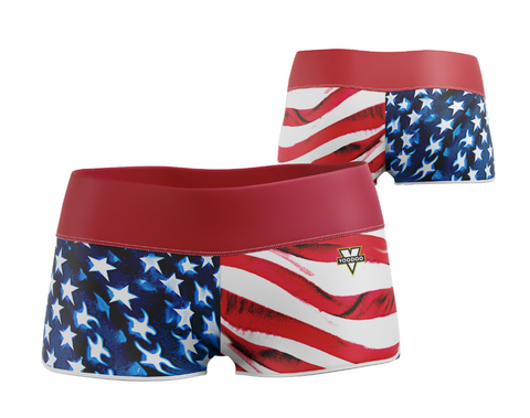 "USA Patriotic Yoga Shorts 2.5"" (Stars and Stripes)"
