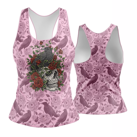 Crows, Skull, Roses Racerback