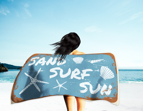 Sand, Surf, and Sun Beach Towel