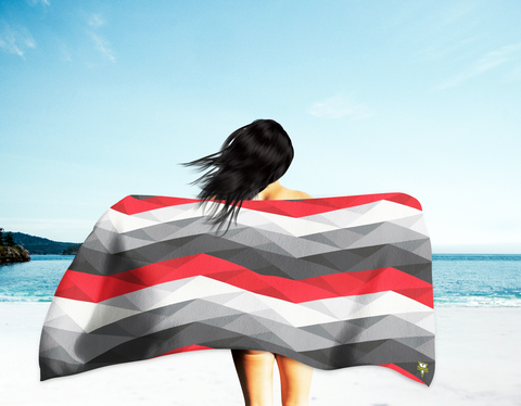 Chevron Beach Towel (black/red)