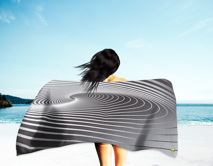 Black Swirls Beach Towel (Oversized)