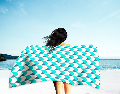 Blue and Teal Chevrons Beach Towel (Oversized)