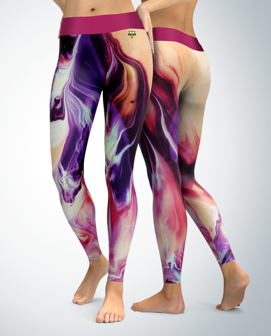 Abstract Leggings (purple/pink tones)