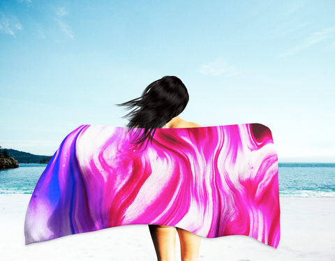 Abstract Beach Towel (pink/white tones)